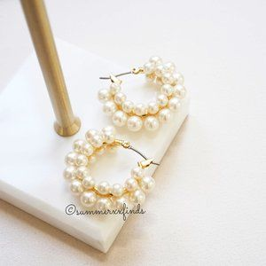 J. Crew Layered Mini Pearl Hoop Earrings